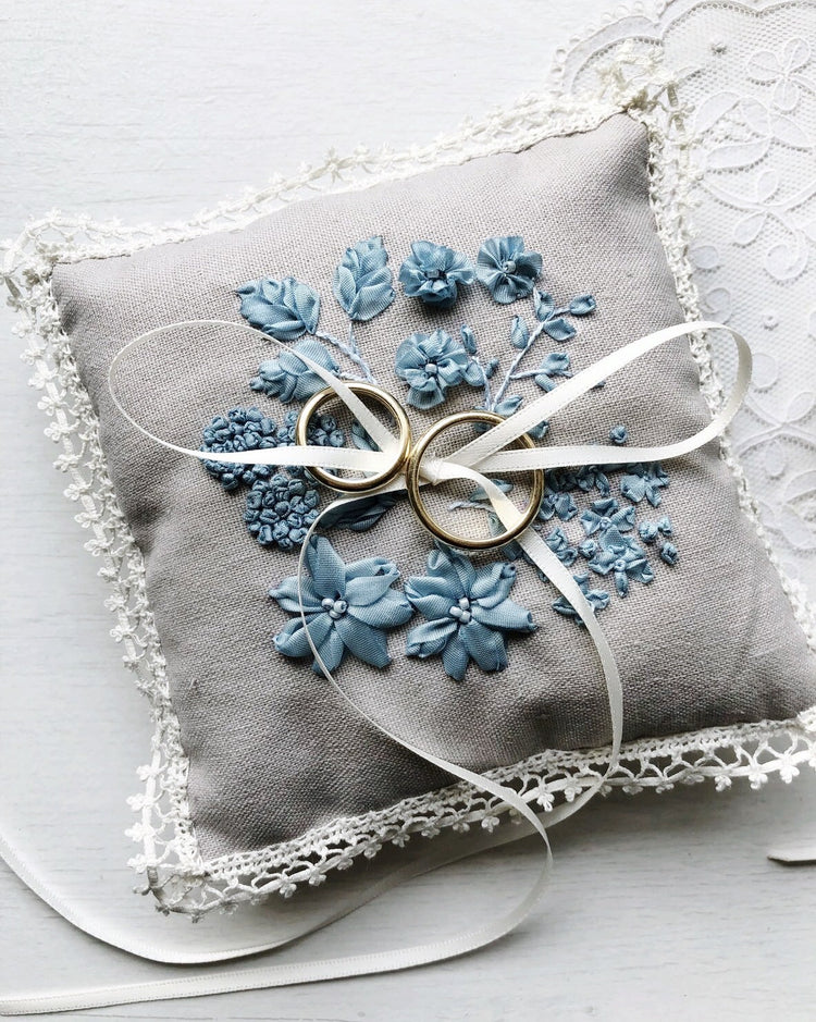 Edwardian embroidered floral ring pillow in oatmeal