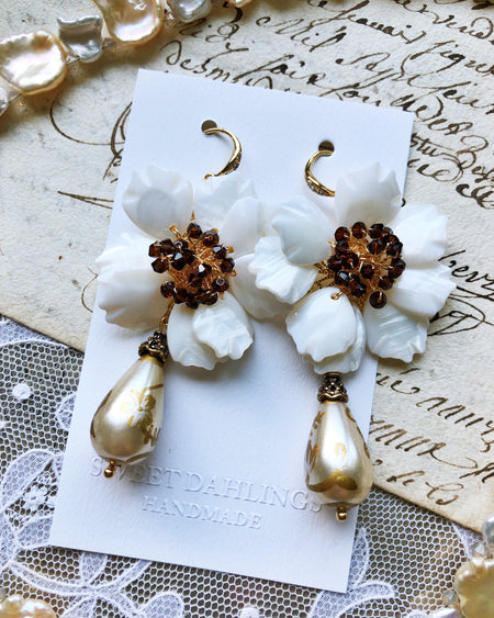 White seashell floral earrings with hand painted glass beads - limited quantities available