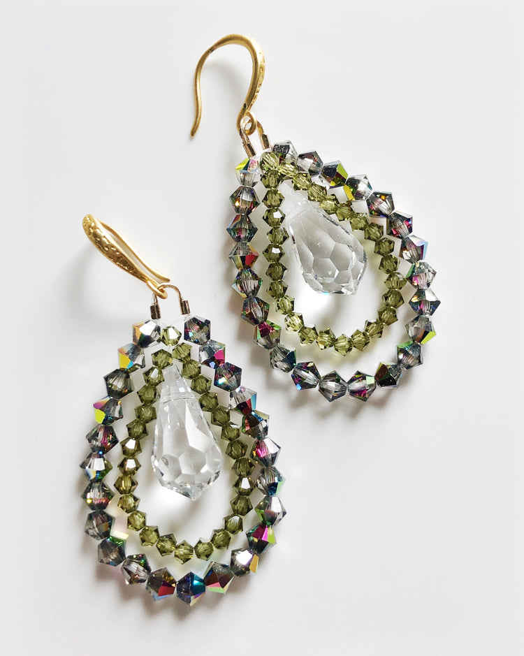 """Night and Day Earrings"" By night in olive green"