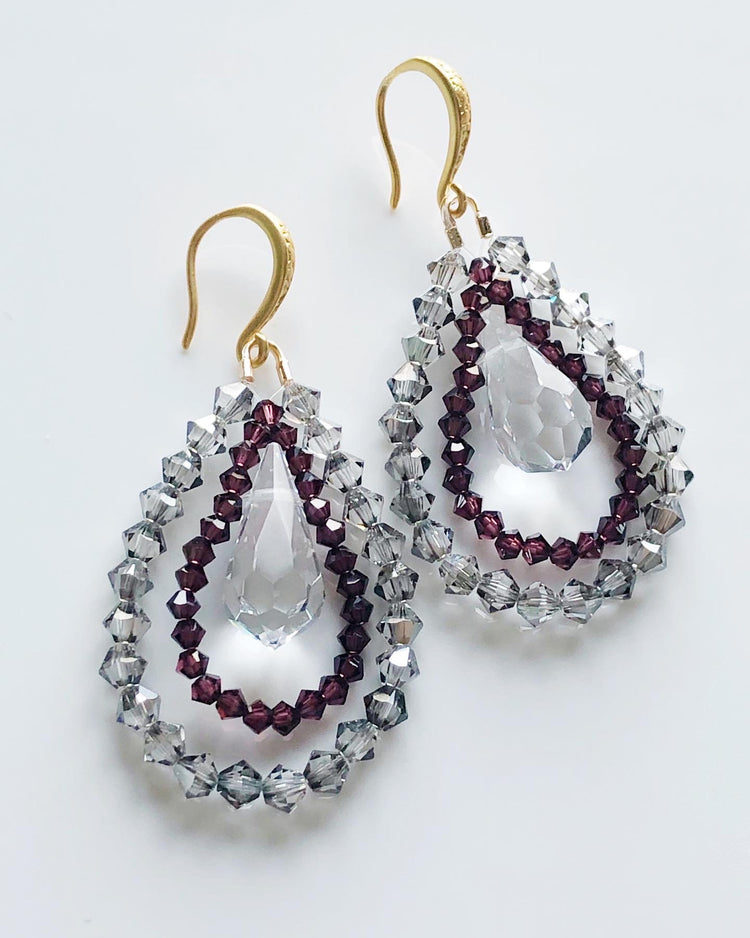 """Night and Day Earrings"" By night in grey and burgundy"