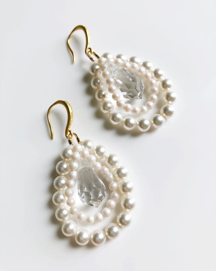 """Night and Day Earrings"" By Night in white pearls and crystals"