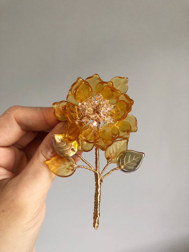 Spring peony brooch in sunny yellow