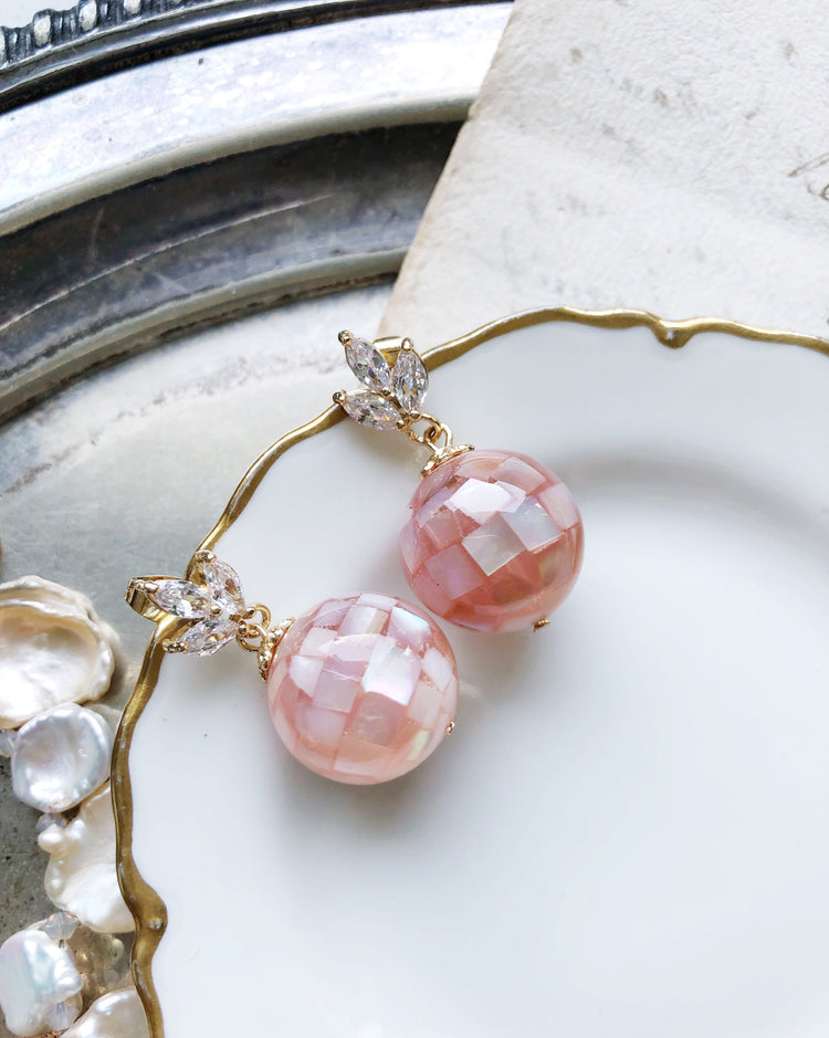 Seashell mosaic bubbles glass beads earrings in bubble gum pink