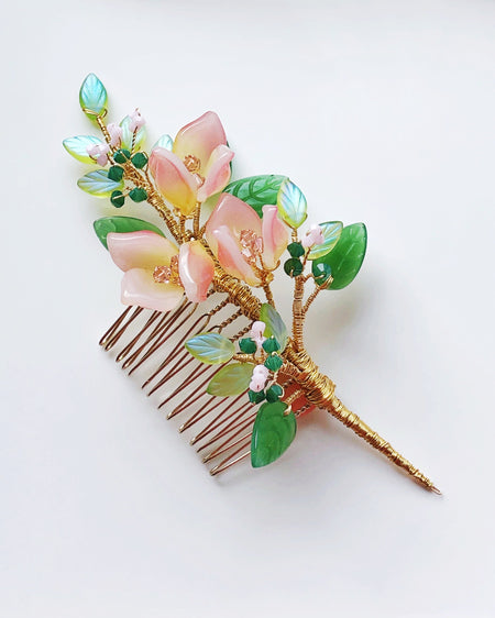 Pink lily Swarovski crystals and glass wedding hair slide