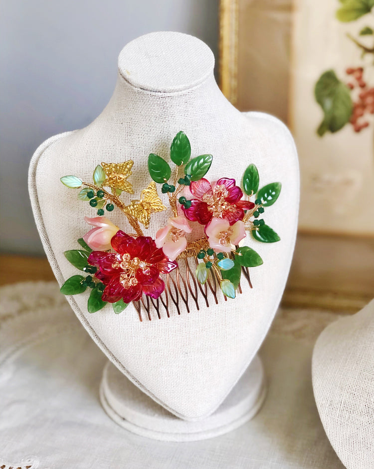 Merry and blessed Chinese peony wedding hair slide