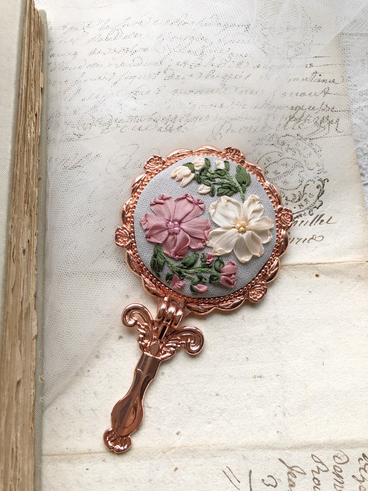 Hand embroidered silk ribbon foldable pocket mirror in rose gold