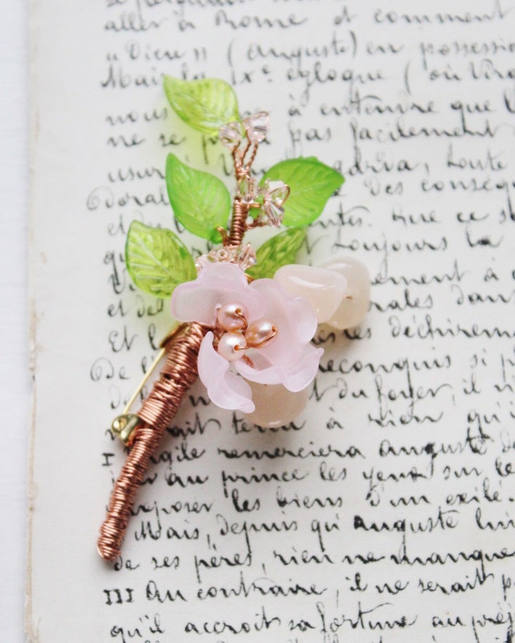 Freshwater pearls peony boutonniere