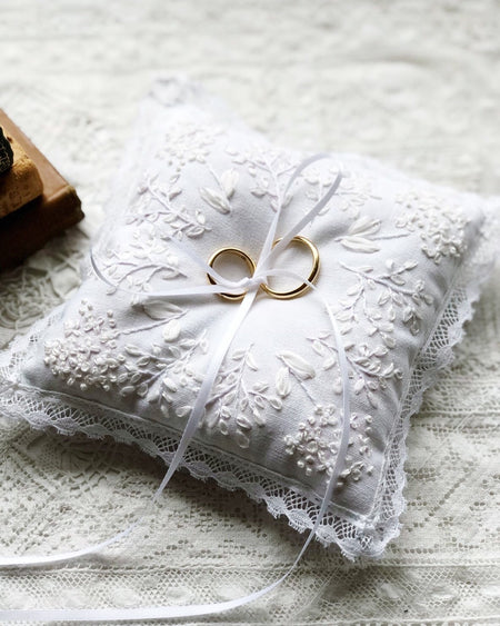 Edwardian inspired hand embroidered small pillow/ring pillow