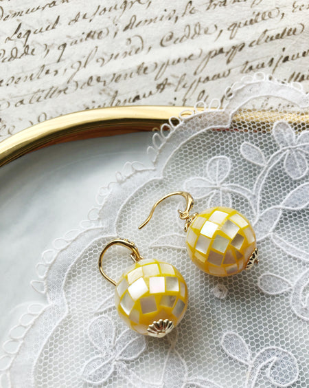 Seashell mosaic bubbles glass beads earrings in sunshine yellow