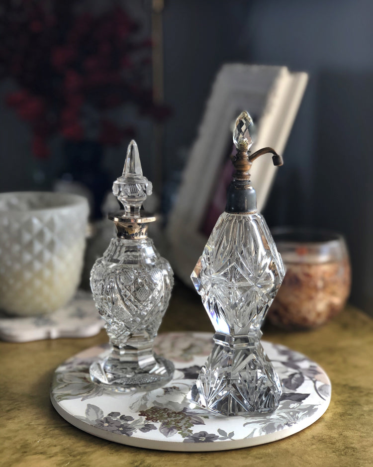 Vintage 1930s lead glass perfume bottle set
