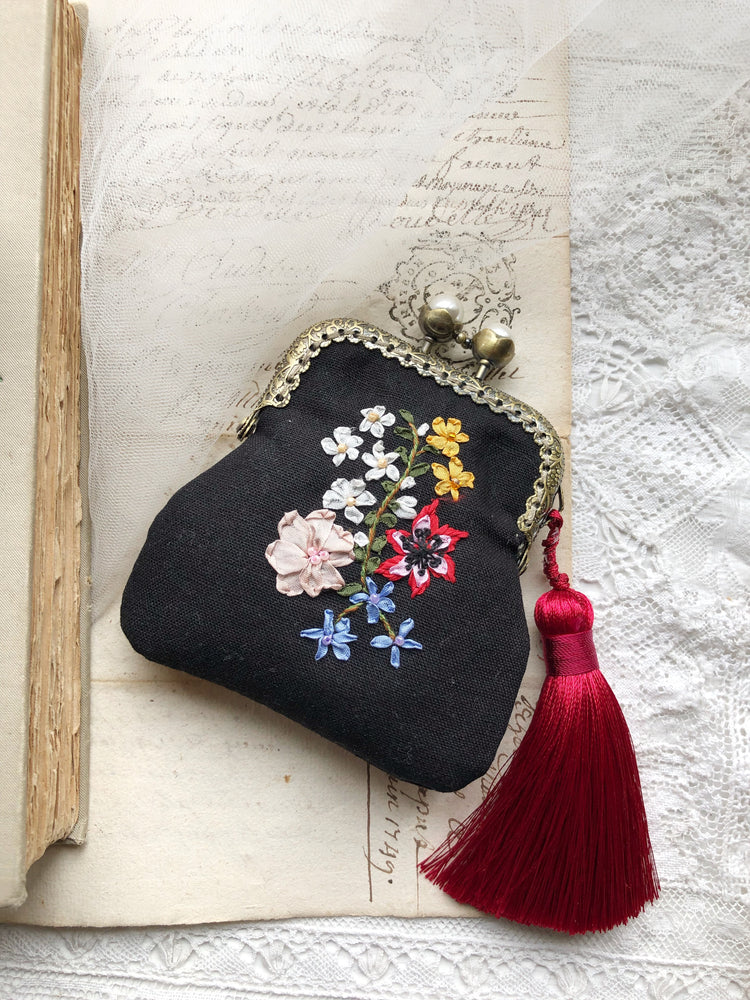 Hand embroidered silk ribbon purse in black