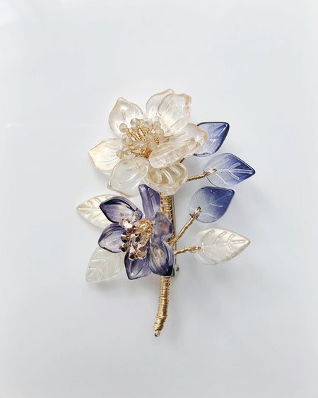 Peony and baby lotus glass and Swarovski crystals brooch