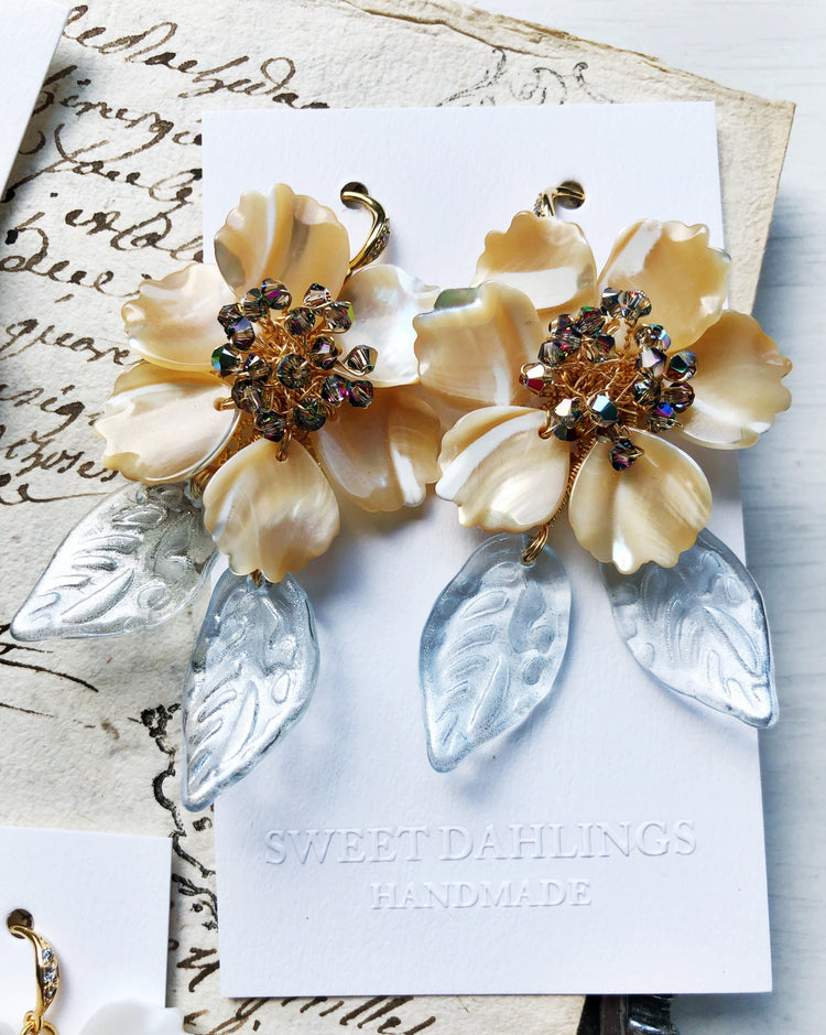 Yellow and blue seashell floral earrings with Swarovski crystals