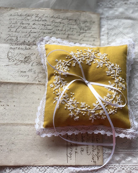 Edwardian inspired embroidered ring pillow in marigold
