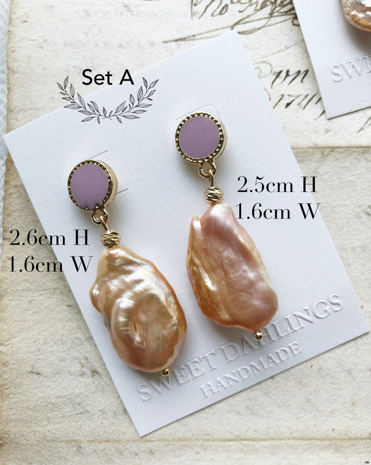 Peach freshwater Baroque pearl earrings