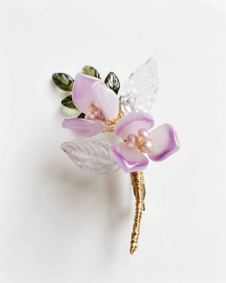 """Thank You"" mini bouquet baby lily brooch in purple"