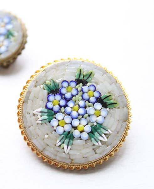 Vintage Mosaic Bridal Bouquet Brooch and Earrings Set