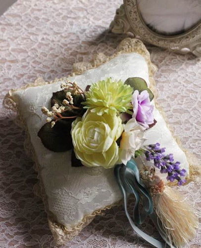 Edwardian Inspired Silk Floral Ring Pillow