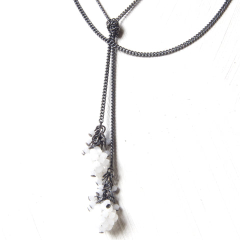Crystal Ball long tie necklace