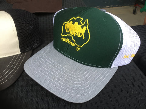 Green and a Gold cap