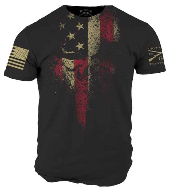 American Reaper T-Shirt - Grunt Style Military Men's Black Graphic Tee Shirt - Star Spangled 1776