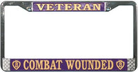 Purple Heart Combat Wounded Veteran Chrome License Plate Frame