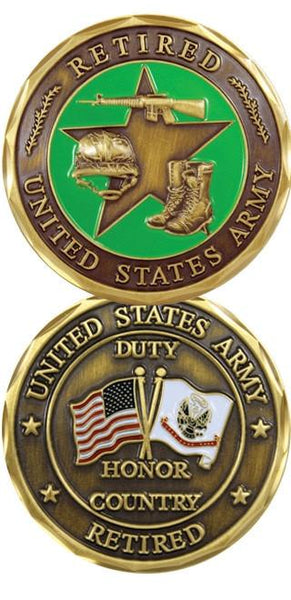 US Army Retired Duty Honor Country Army Challenge Coin
