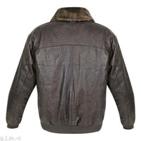 Classic Vintage Aviator Leather Bomber Jacket w/ Synthetic Fur Collar- Brown