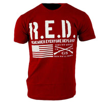 Remember Everyone Deployed T-Shirt - Grunt Style Military Men's Red Tee Shirt