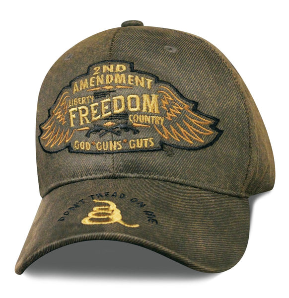 2nd Amendment Patriot Wings Oilskin Embroidered Cap