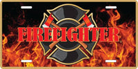 Firefighter Full Color Process Imprint on Deluxe Gold Metal License Plate - Star Spangled LLC