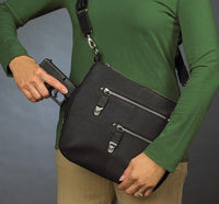 Chrome Zip Concealed Carry Handbag- Black - Star Spangled LLC