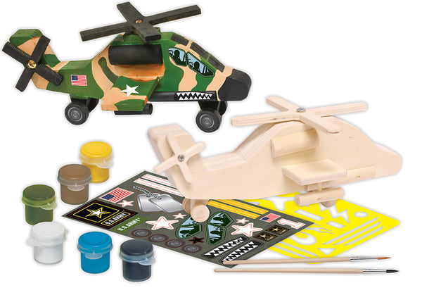 Army Apache Helicopter Wood Paint Kit - Star Spangled LLC