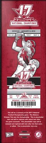 Alabama Crimson Tide 2017 Football National Championship Wood Ticket Plaque.  6 x 18. - Star Spangled LLC
