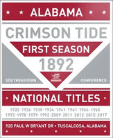 Alabama Crimson Tide Wood National Titles Plaque. 13 x 16.