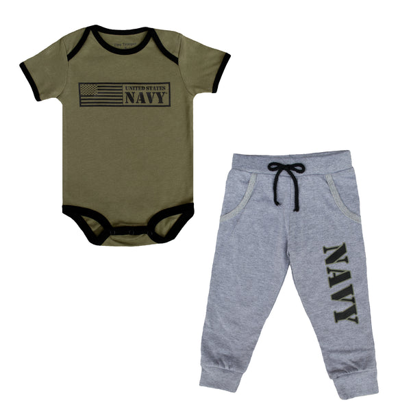 Navy Infant One-piece and Sweats Jogger Set (2 pc)
