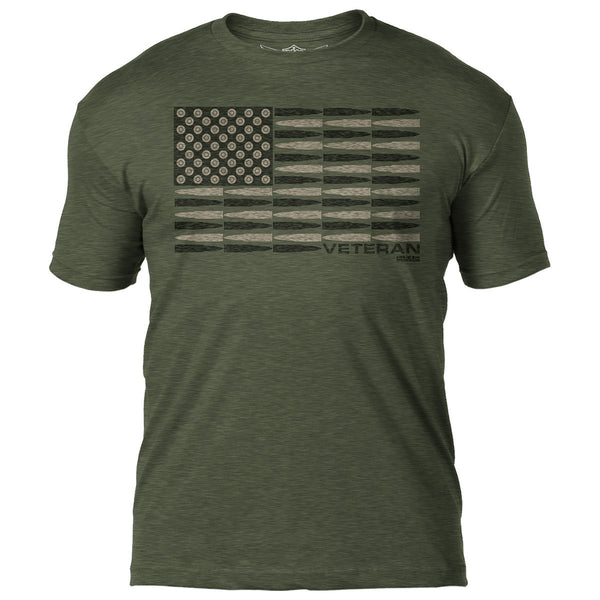 Veteran Bullet Flag 7.62 Design Battlespace Mens T-Shirt