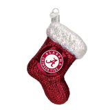 Alabama Crimson Tide Stocking Glass Christmas Ornament