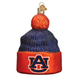 Auburn Tigers Beanie Glass Christmas Ornament