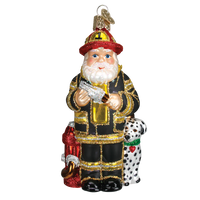 Fireman Santa Glass Christmas Ornament