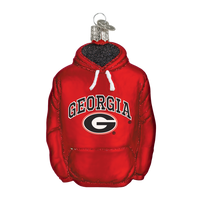 Georgia Bulldogs Hoodie Glass Christmas Ornament