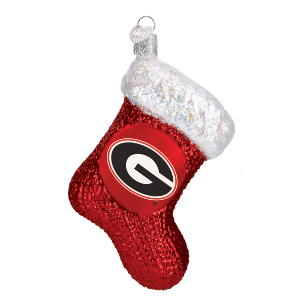 Georgia Bulldogs Stocking Glass Christmas Ornament