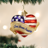 God Bless America Heart Glass Christmas Ornament