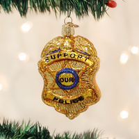 Police Badge Glass Christmas Ornament