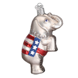 Republican Elephant Glass Christmas Ornament