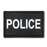 Police Tactical Rubber Patch (3 x 2) Black