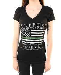 Thin Green Line T-Shirt- Outlaw Threadz Women's V-Neck Tee Shirt Black