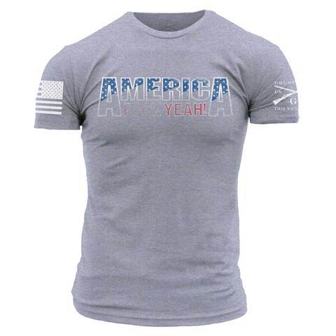 America, F*uck Yeah 2.0- Grunt Style Men's Tagless Tee Shirt- Heather Grey