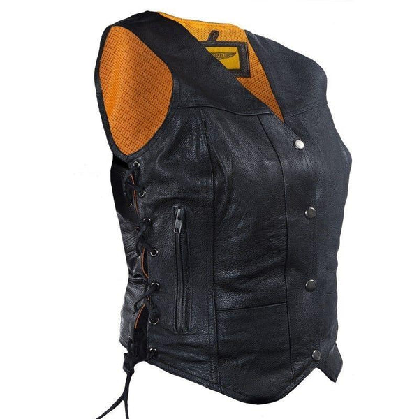 Women's Cowhide Leather Motorcycle Vest - Star Spangled LLC