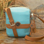 Turquoise Casual Carrie Crossbody Compact Handbag